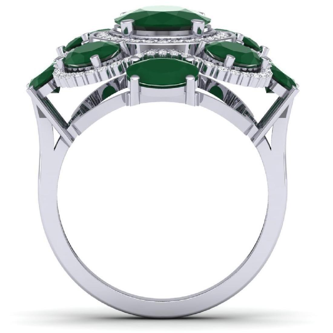 9.86 CTW Royalty Designer Emerald & VS Diamond Ring 18K - 2