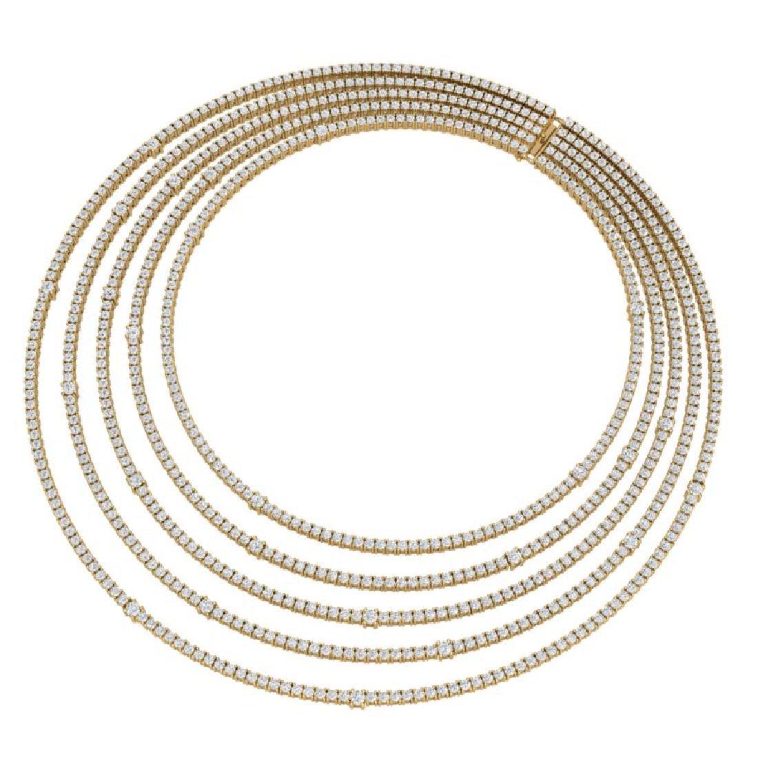 60 CTW Certified VS/SI Diamond Love Necklace 18K Yellow - 3
