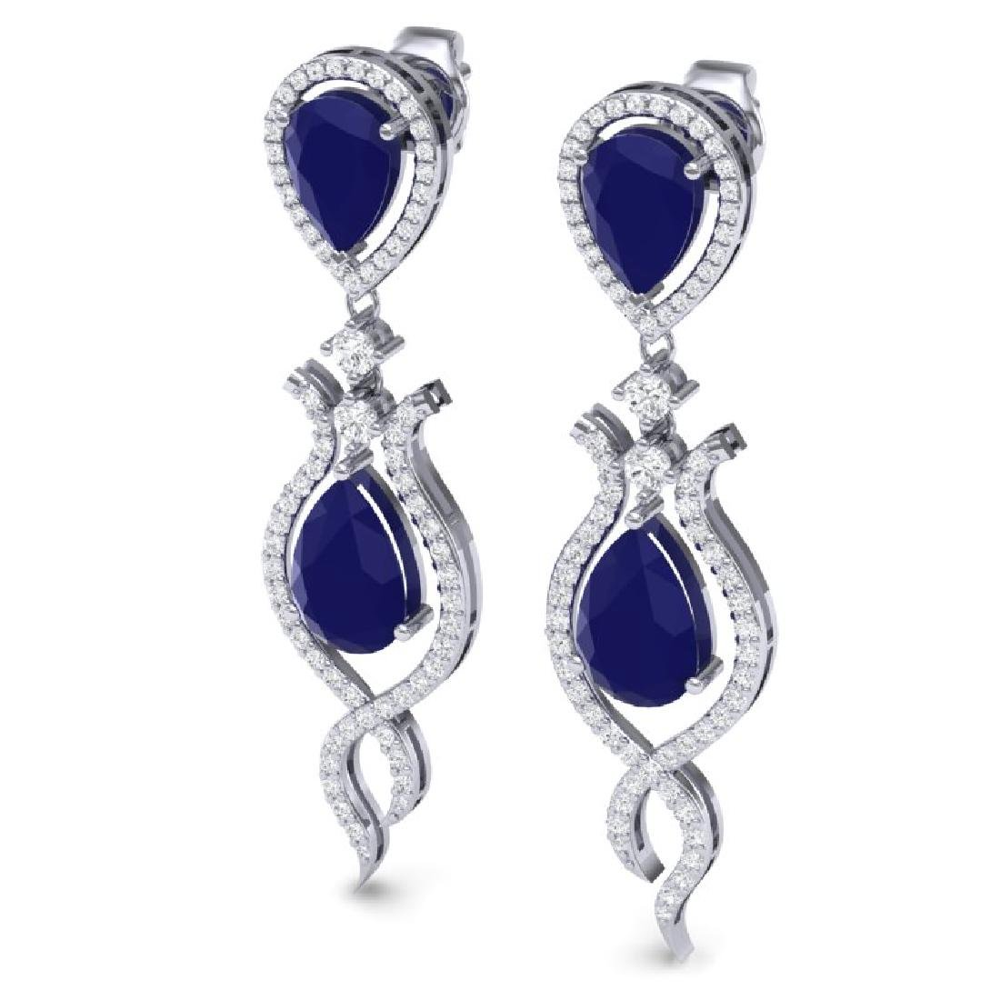 16.57 CTW Royalty Sapphire & VS Diamond Earrings 18K - 2