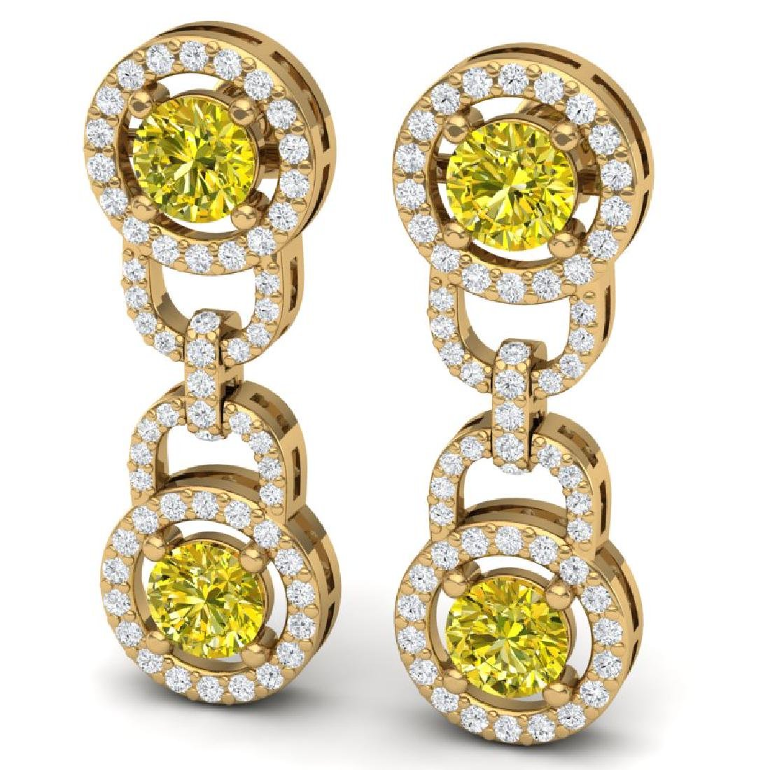 4 CTW SI/I Fancy Yellow And White Diamond Earrings 18K - 2