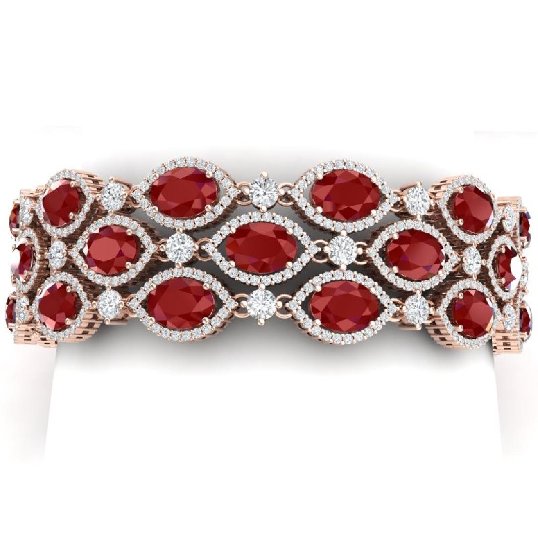 47.84 CTW Royalty Ruby & VS Diamond Bracelet 18K Rose