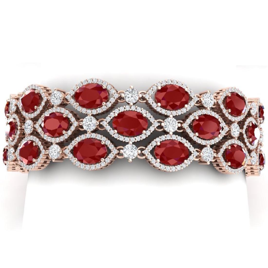 47.84 CTW Royalty Ruby & VS Diamond Bracelet 18K Rose