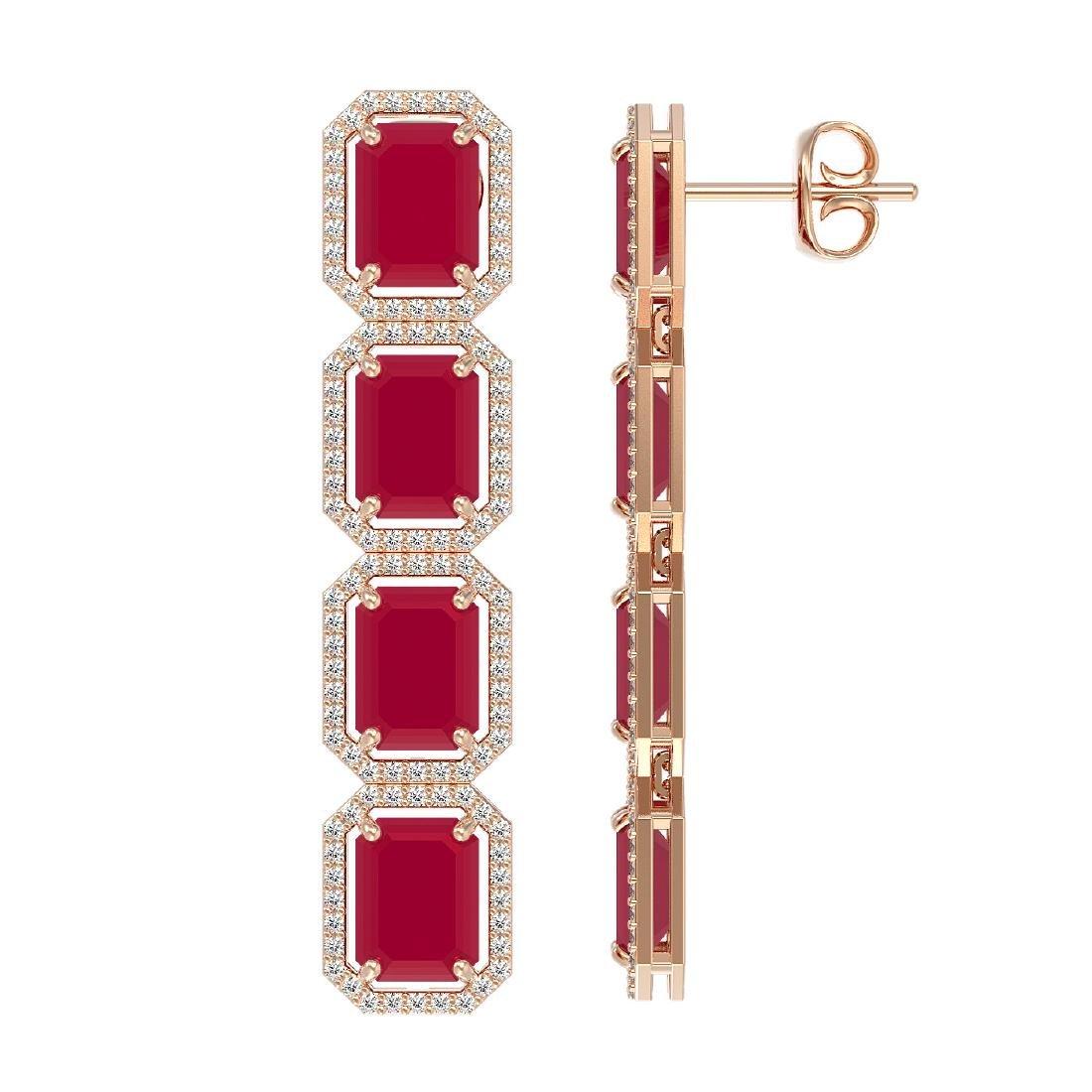 20.59 CTW Ruby & Diamond Halo Earrings 10K Rose Gold - 2
