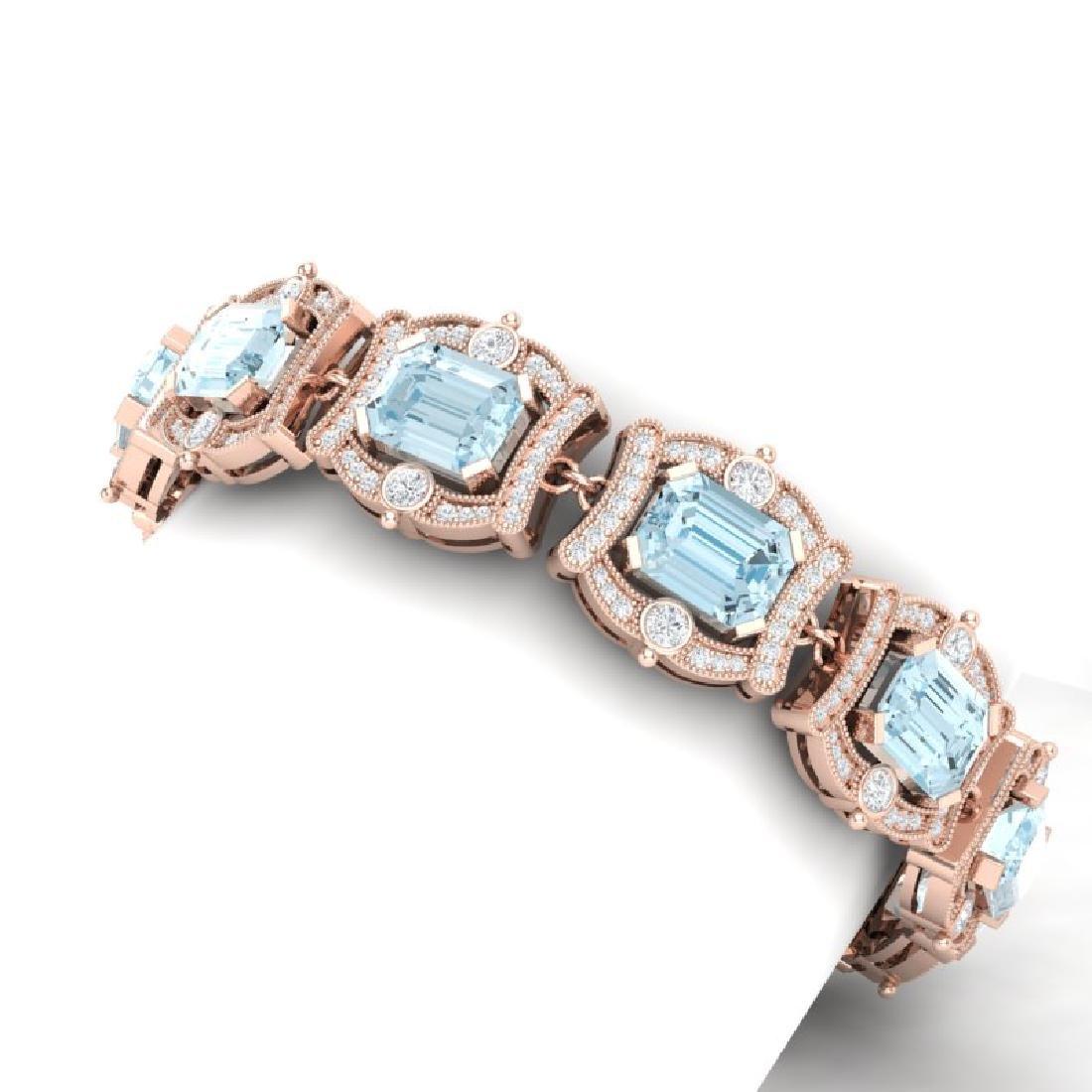42.18 CTW Royalty Sky Topaz & VS Diamond Bracelet 18K - 2