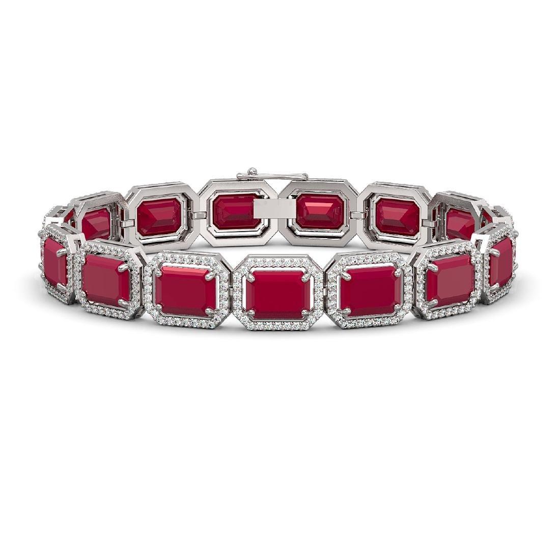 38.61 CTW Ruby & Diamond Halo Bracelet 10K White Gold