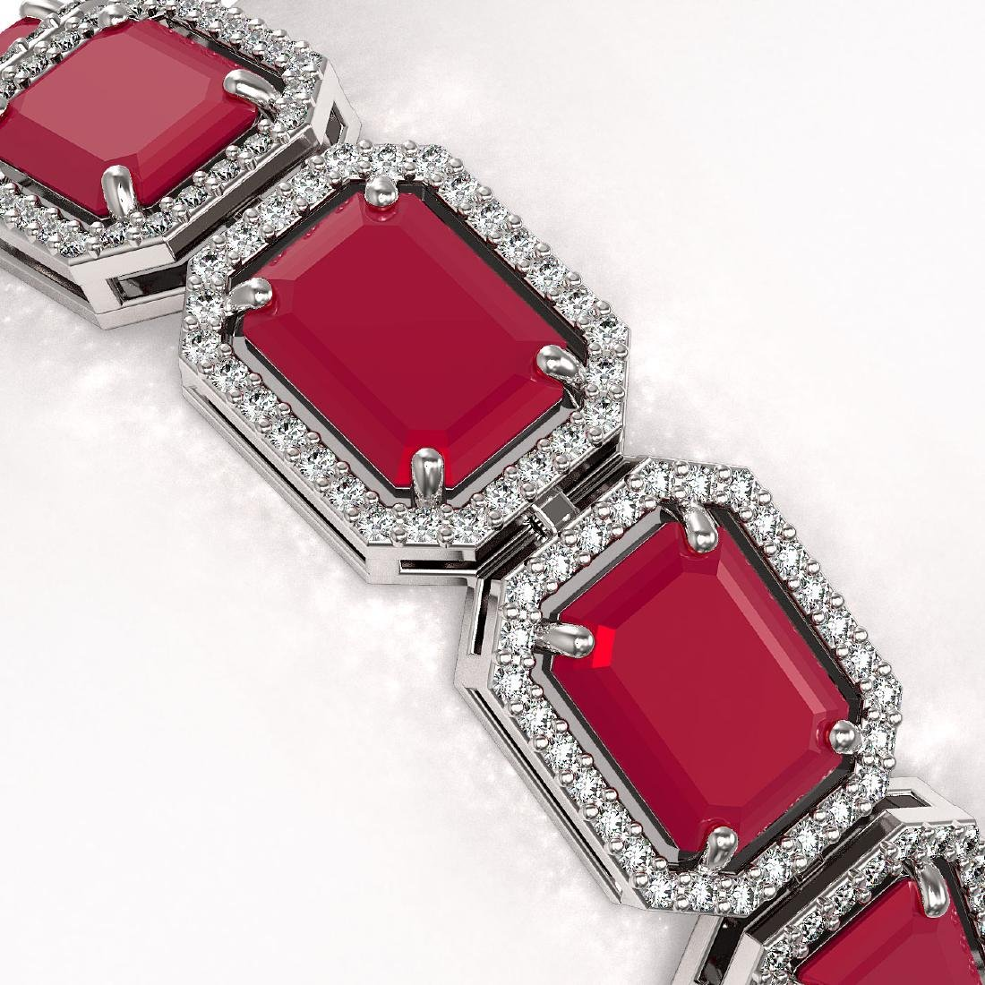 38.61 CTW Ruby & Diamond Halo Bracelet 10K White Gold - 3