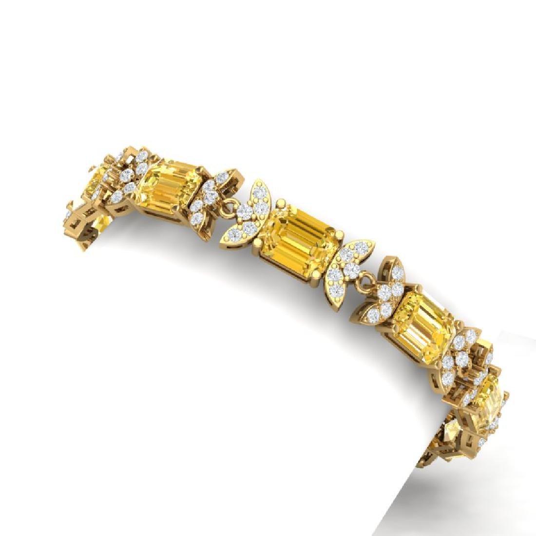 35.21 CTW Royalty Canary Citrine & VS Diamond Bracelet - 2