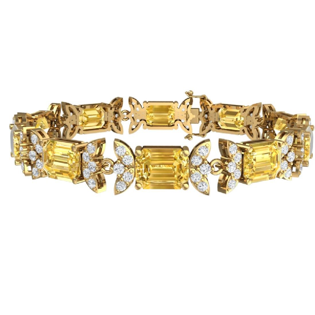 35.21 CTW Royalty Canary Citrine & VS Diamond Bracelet - 3