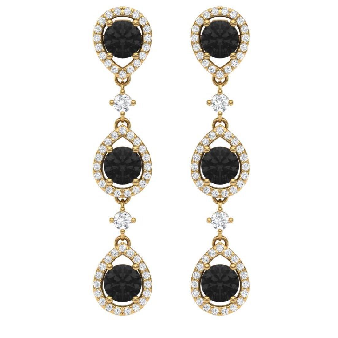 4.7 CTW Certified Black VS Diamond Earrings 18K Yellow