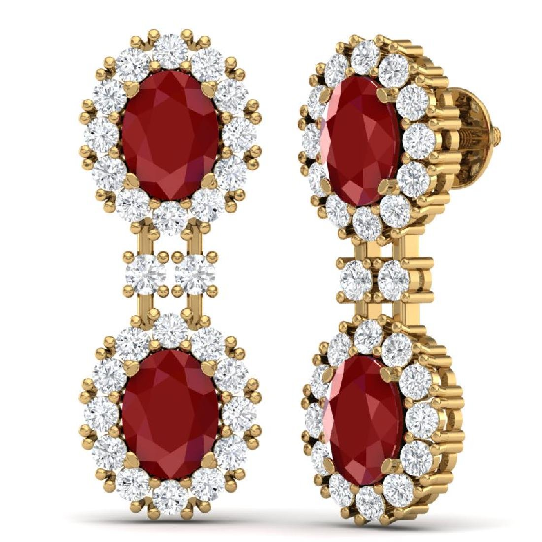 8.98 CTW Royalty Designer Ruby & VS Diamond Earrings - 3