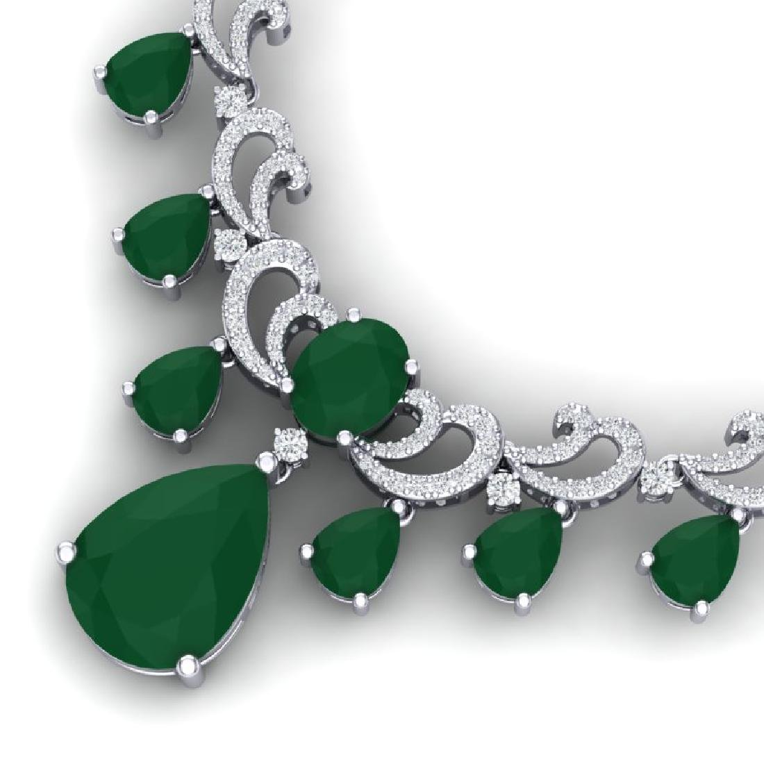 36.85 CTW Royalty Emerald & VS Diamond Necklace 18K - 2