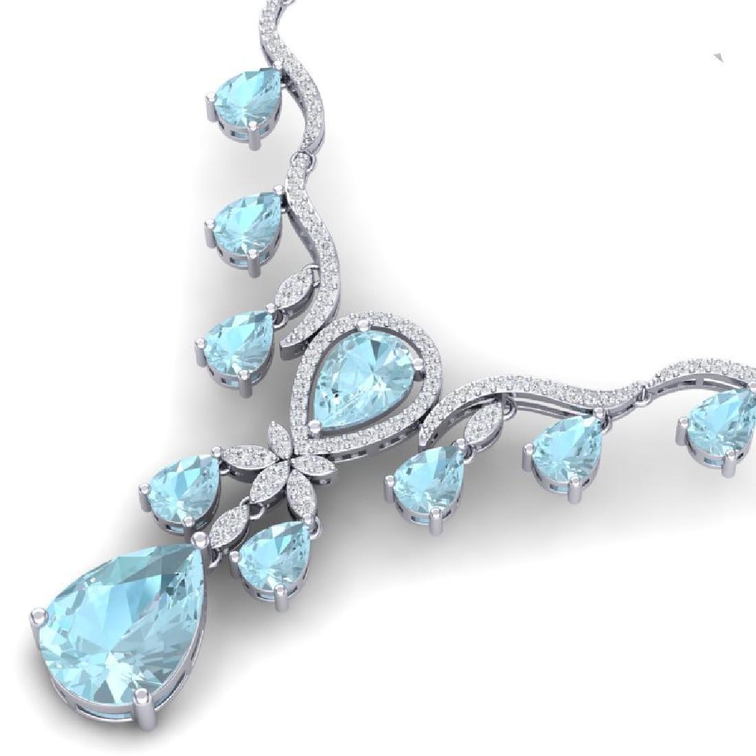 38.14 CTW Royalty Sky Topaz & VS Diamond Necklace 18K