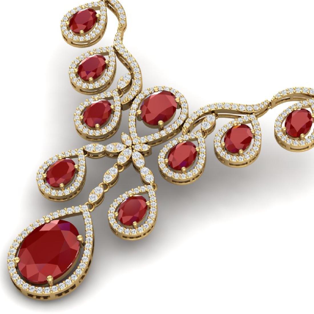 37.66 CTW Royalty Ruby & VS Diamond Necklace 18K Yellow - 2