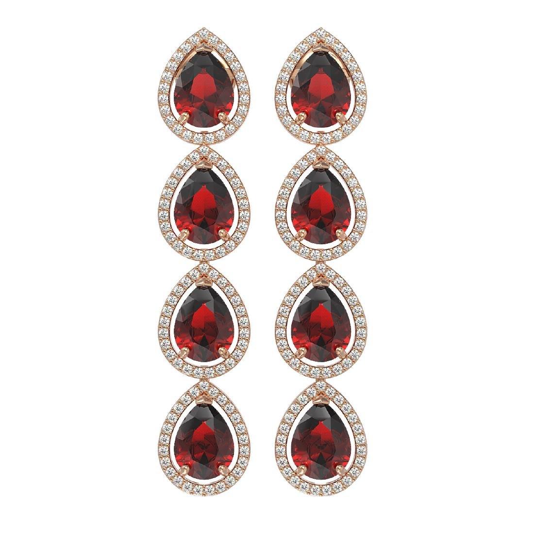 9.25 CTW Garnet & Diamond Halo Earrings 10K Rose Gold