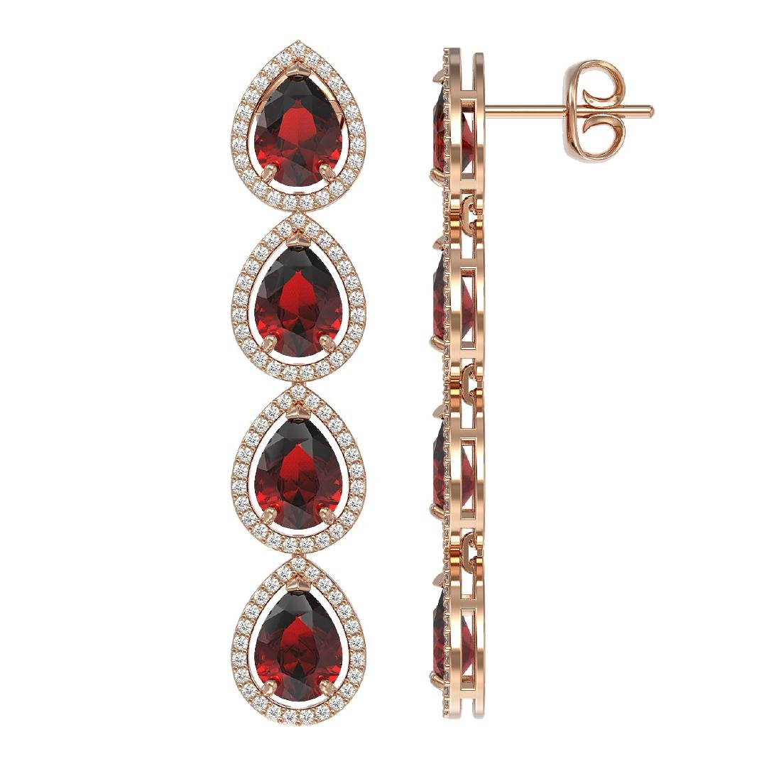9.25 CTW Garnet & Diamond Halo Earrings 10K Rose Gold - 2
