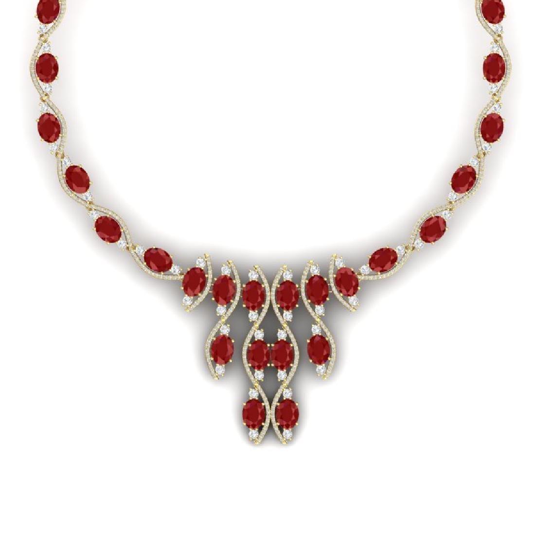 65.93 CTW Royalty Ruby & VS Diamond Necklace 18K Yellow - 2
