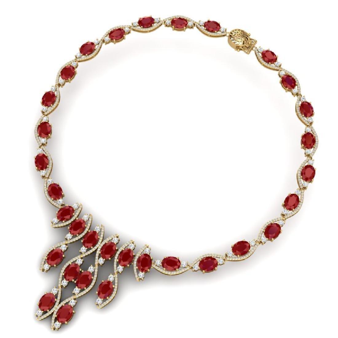 65.93 CTW Royalty Ruby & VS Diamond Necklace 18K Yellow - 3