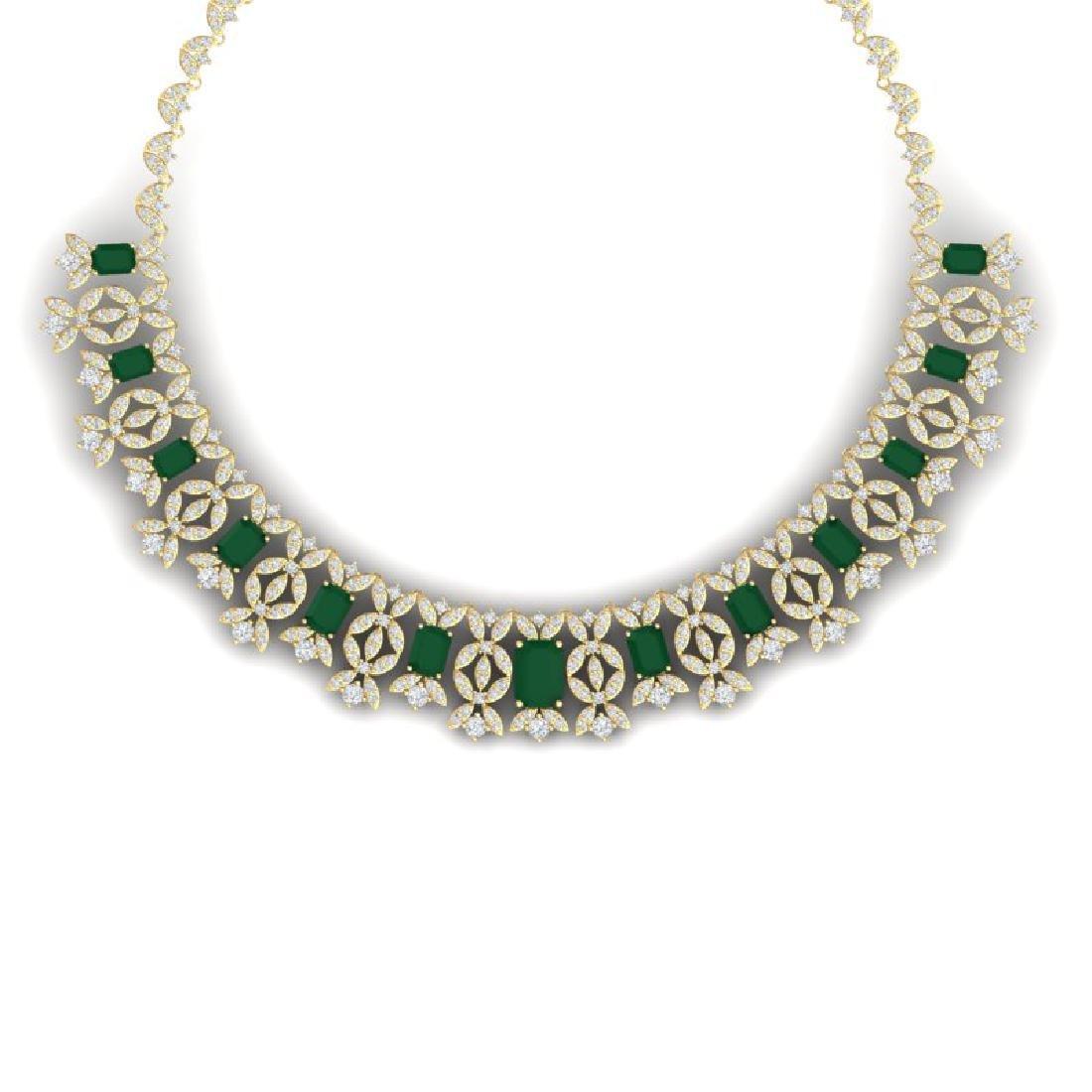 50.44 CTW Royalty Emerald & VS Diamond Necklace 18K