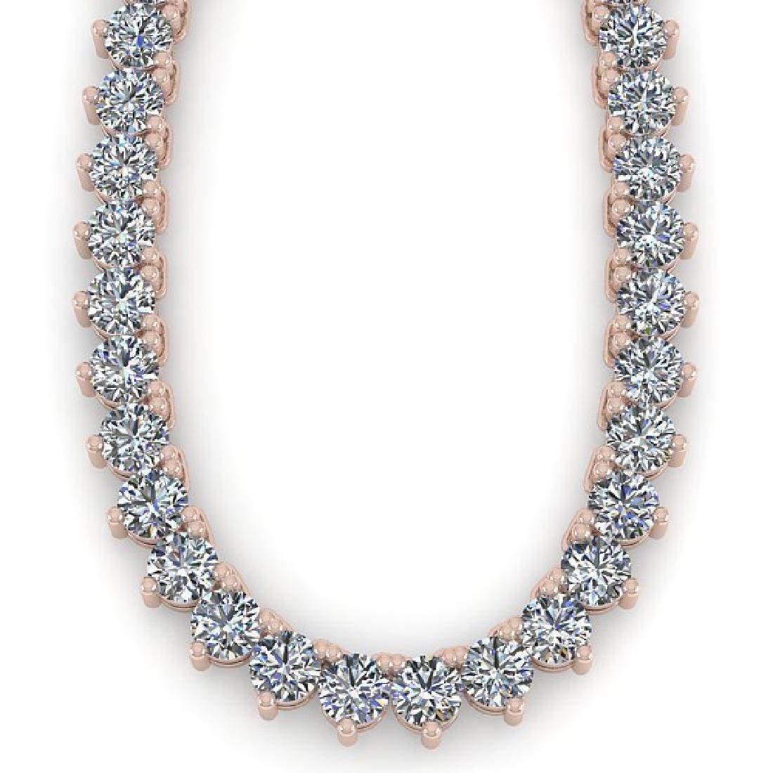 15 CTW Solitaire VS/SI Diamond Necklace 14K Rose Gold - 2