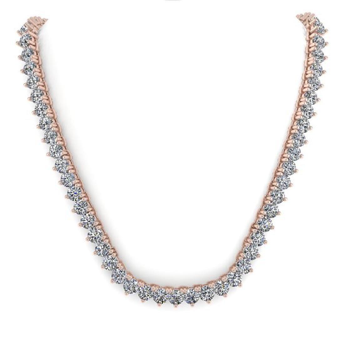 15 CTW Solitaire VS/SI Diamond Necklace 14K Rose Gold - 3