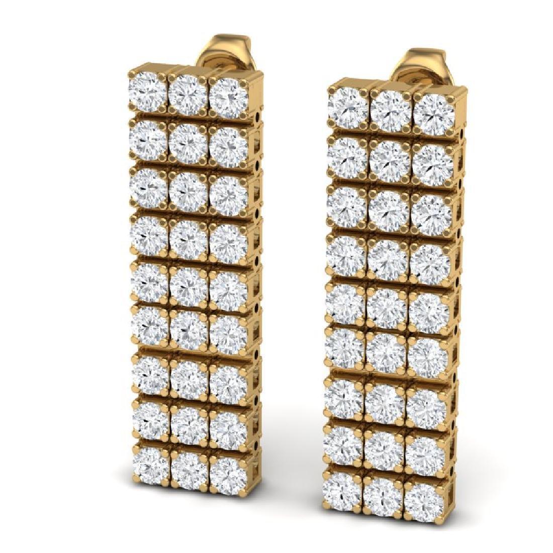 4 CTW Certified SI/I Diamond Earrings 18K Yellow Gold - 2