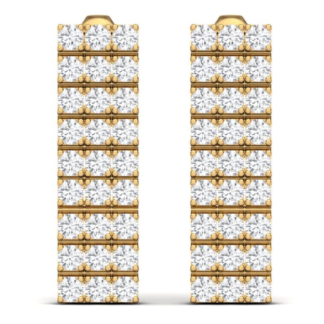 4 CTW Certified SI/I Diamond Earrings 18K Yellow Gold - 3