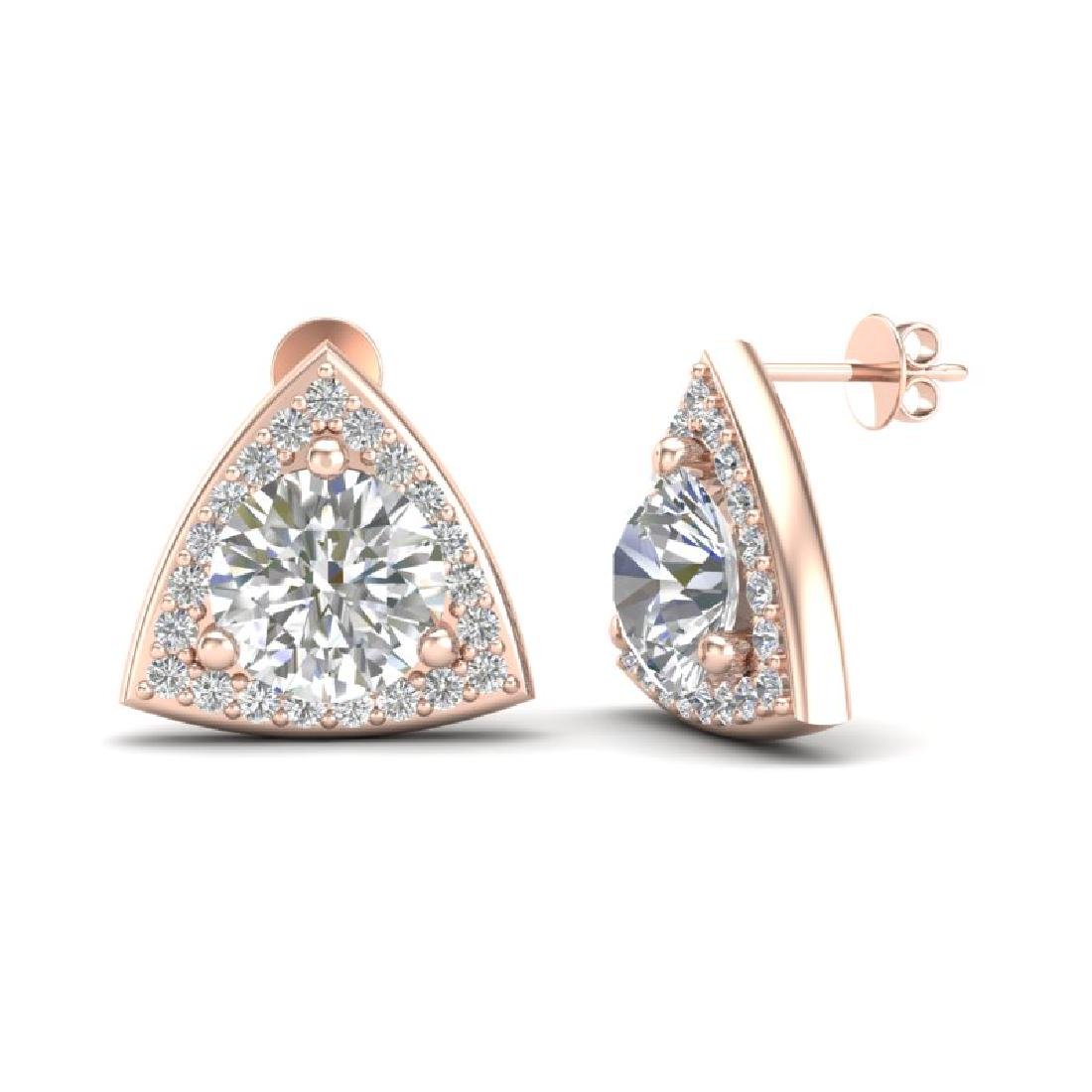 3 CTW VS/SI Diamond Stud Earrings 14K Rose Gold - 2