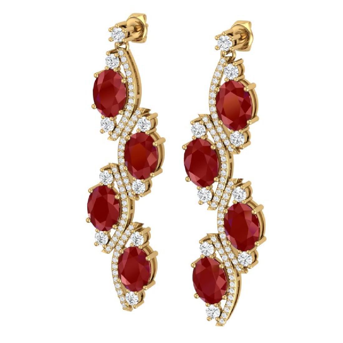 16.12 CTW Royalty Designer Ruby & VS Diamond Earrings - 2