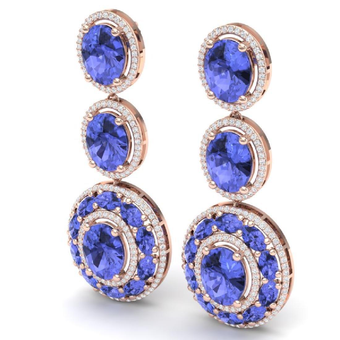 33.72 CTW Royalty Tanzanite & VS Diamond Earrings 18K - 2