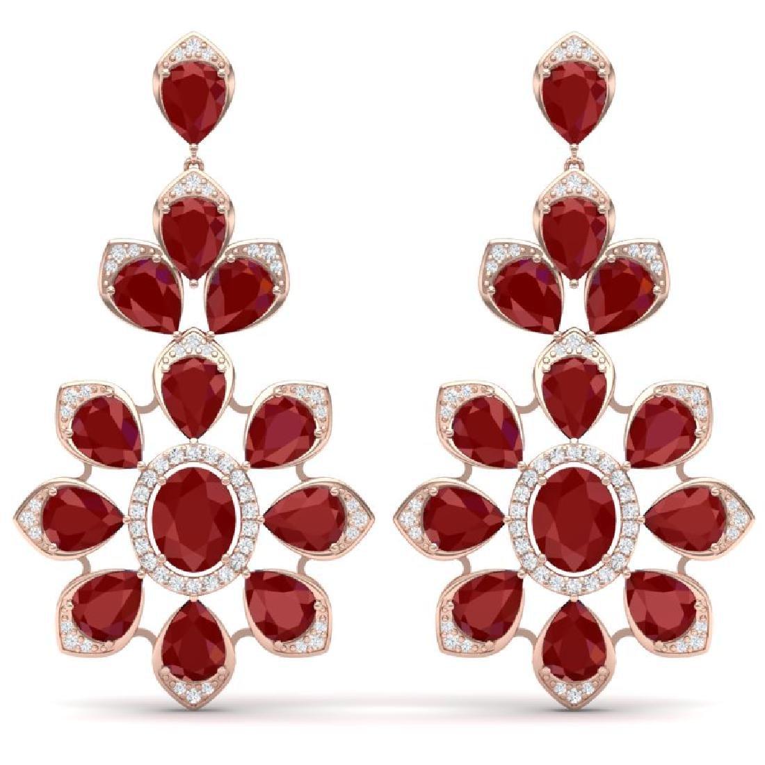 51.8 CTW Royalty Designer Ruby & VS Diamond Earrings
