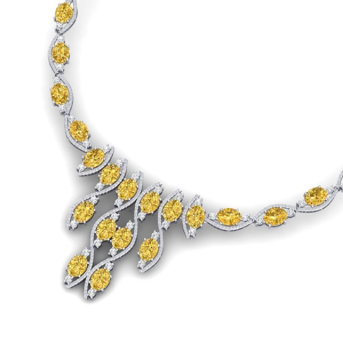 64.04 CTW Royalty Canary Citrine & VS Diamond Necklace