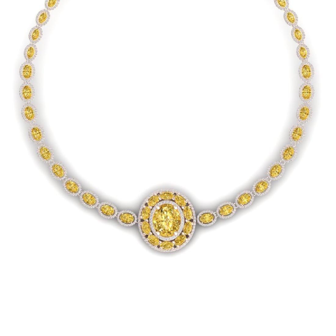 39.04 CTW Royalty Canary Citrine & VS Diamond Necklace - 2