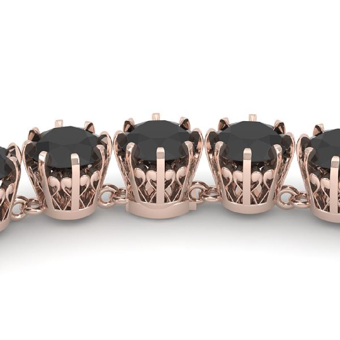 34 CTW Certified Black VS Diamond Necklace 18K Rose