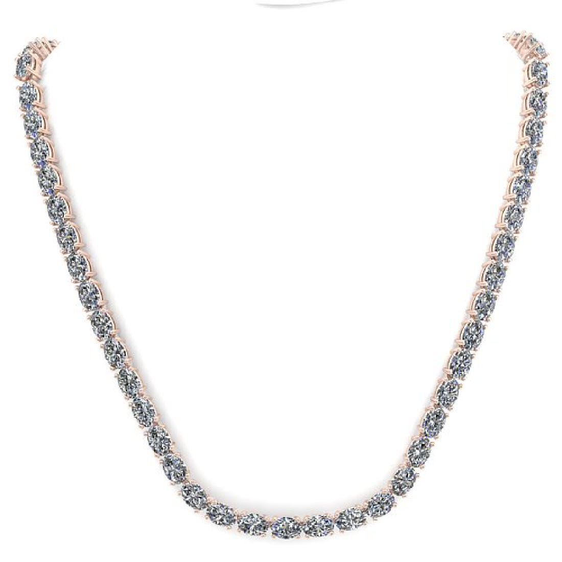 30 CTW Oval Cut Certified SI Diamond Necklace 18K Rose - 3