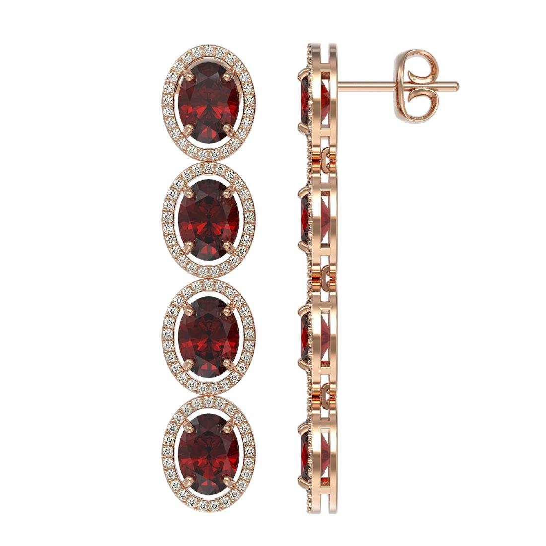 13.64 CTW Garnet & Diamond Halo Earrings 10K Rose Gold - 2