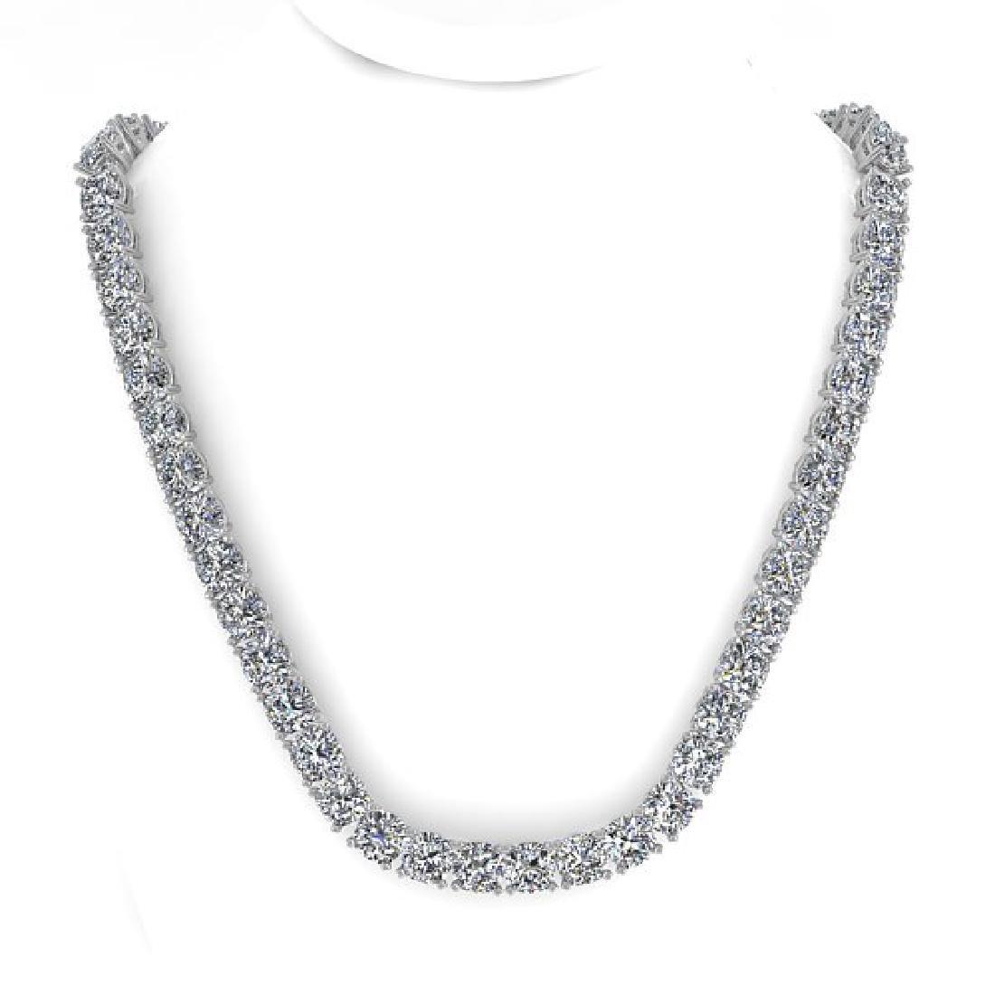 35 CTW Cushion Cut Certified SI Diamond Necklace 14K - 3
