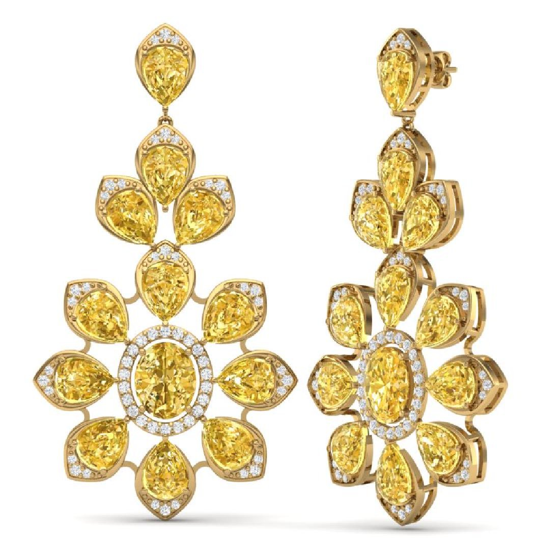 48.67 CTW Royalty Canary Citrine & VS Diamond Earrings - 3