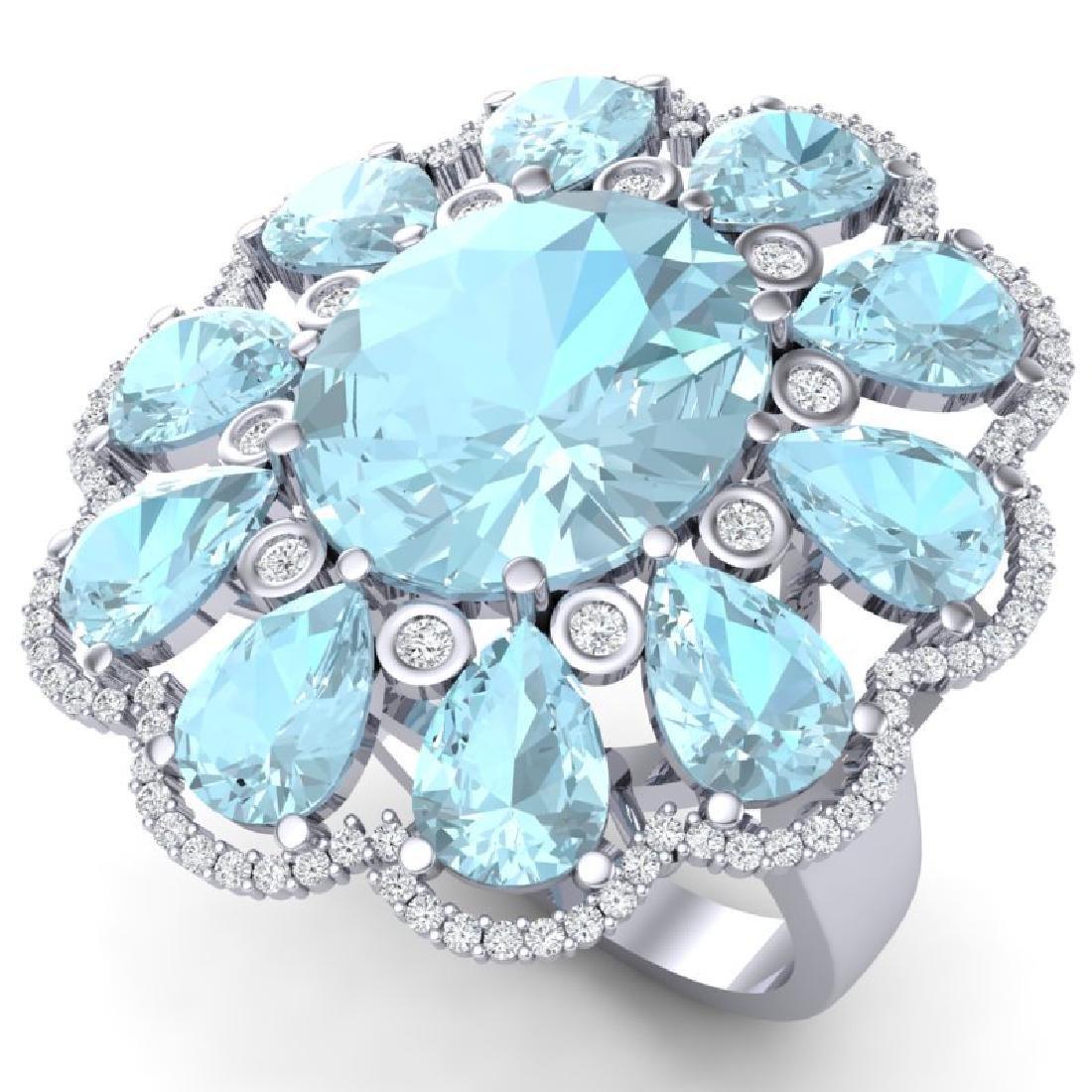 20.54 CTW Royalty Sky Topaz & VS Diamond Ring 18K White