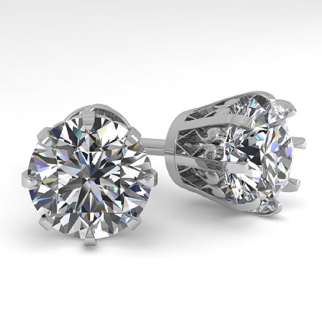 4 CTW VS/SI Diamond Stud Solitaire Earrings 18K White