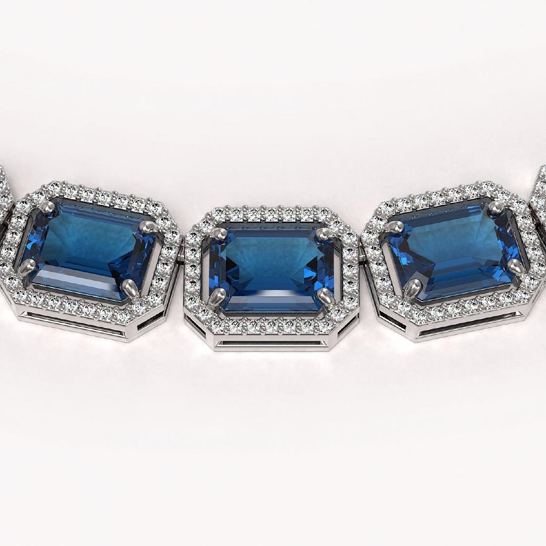 79.66 CTW London Topaz & Diamond Halo Necklace 10K - 3