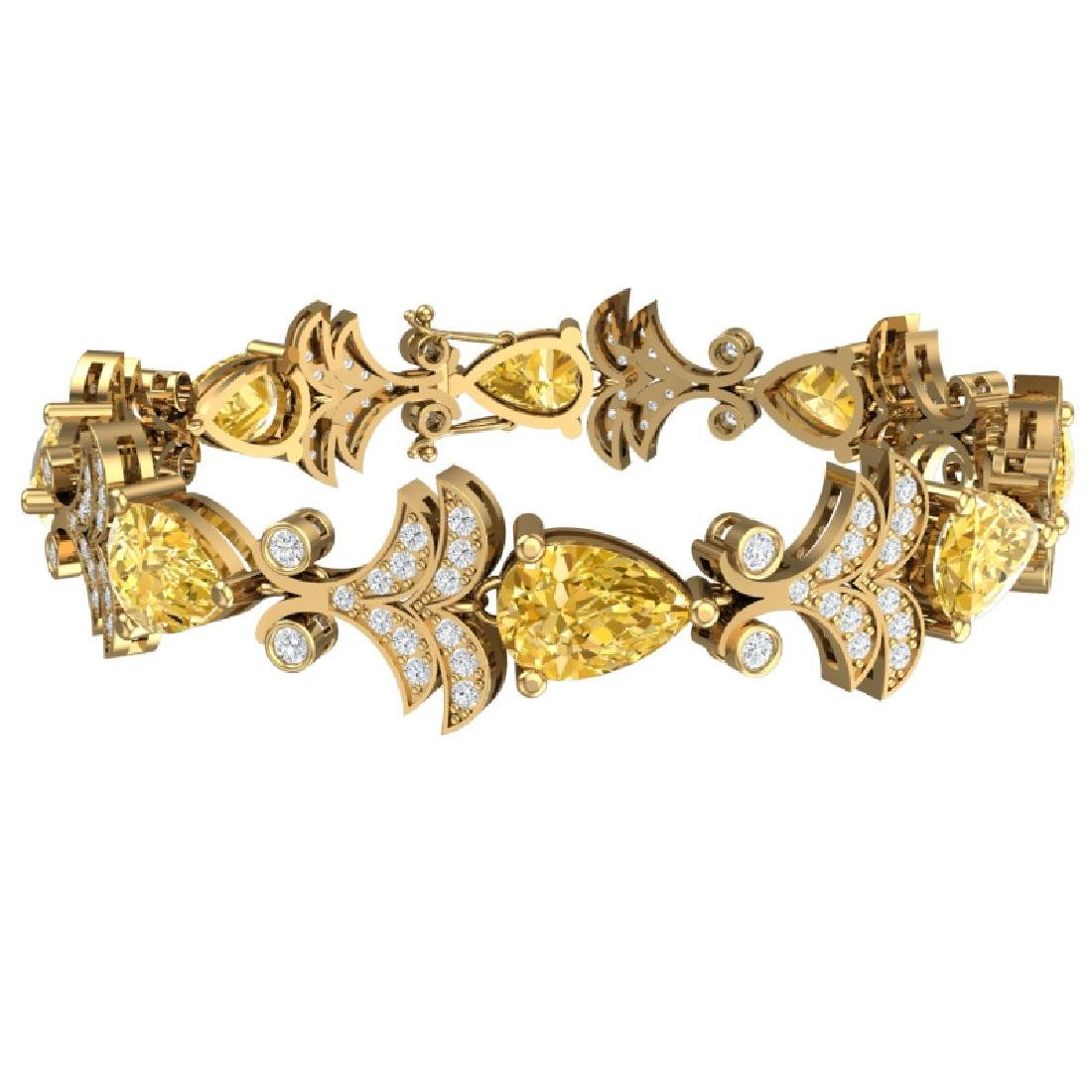 23.66 CTW Royalty Canary Citrine & VS Diamond Bracelet - 3
