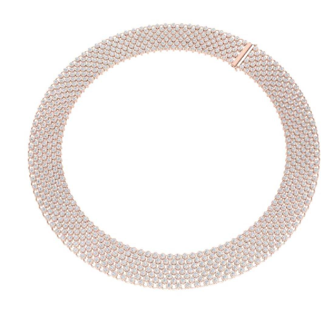 35 CTW Certified VS/SI Diamond Necklace 18K Rose Gold - 3