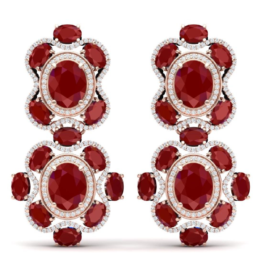 33.5 CTW Royalty Designer Ruby & VS Diamond Earrings