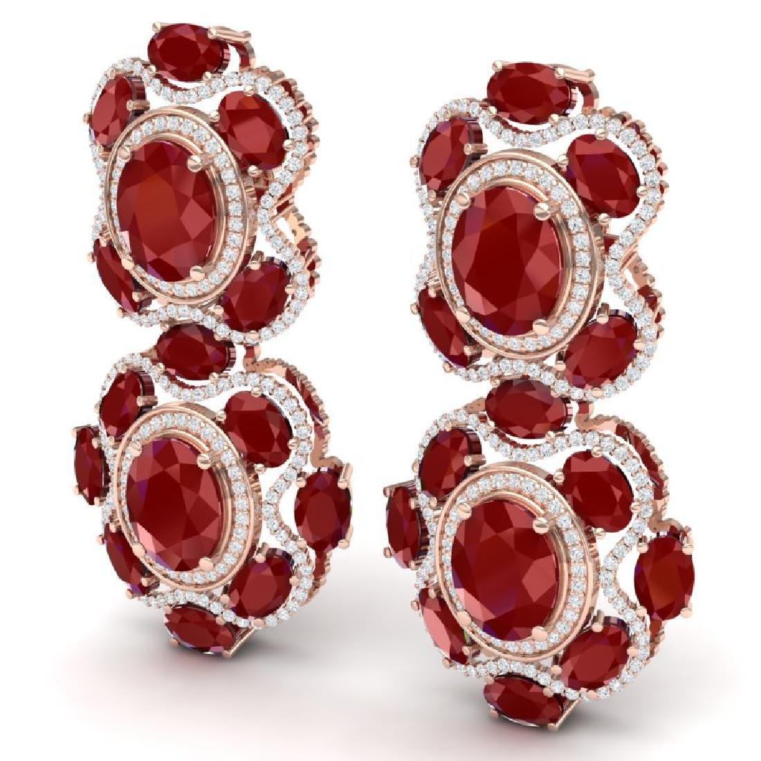 33.5 CTW Royalty Designer Ruby & VS Diamond Earrings - 2