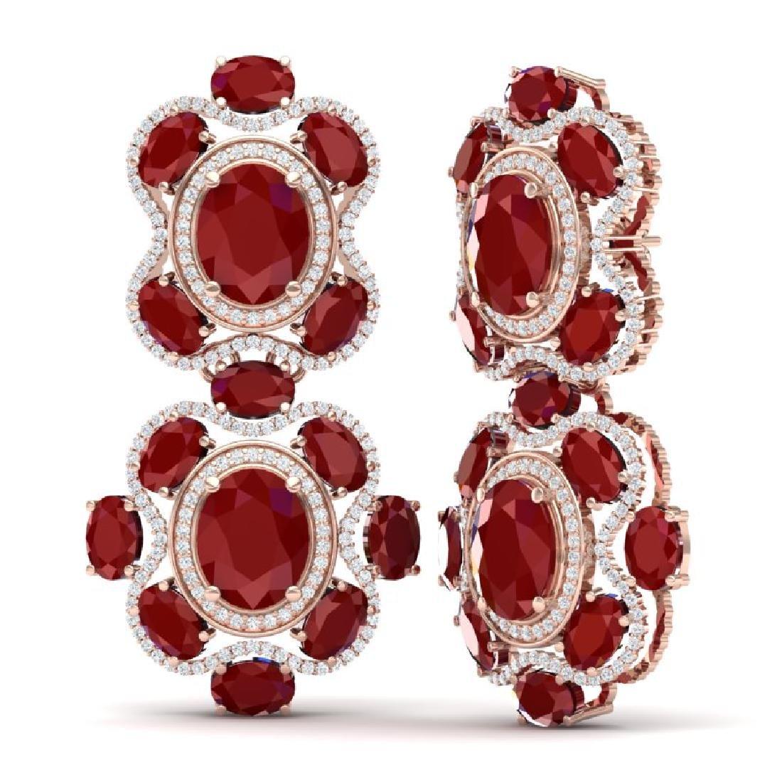 33.5 CTW Royalty Designer Ruby & VS Diamond Earrings - 3