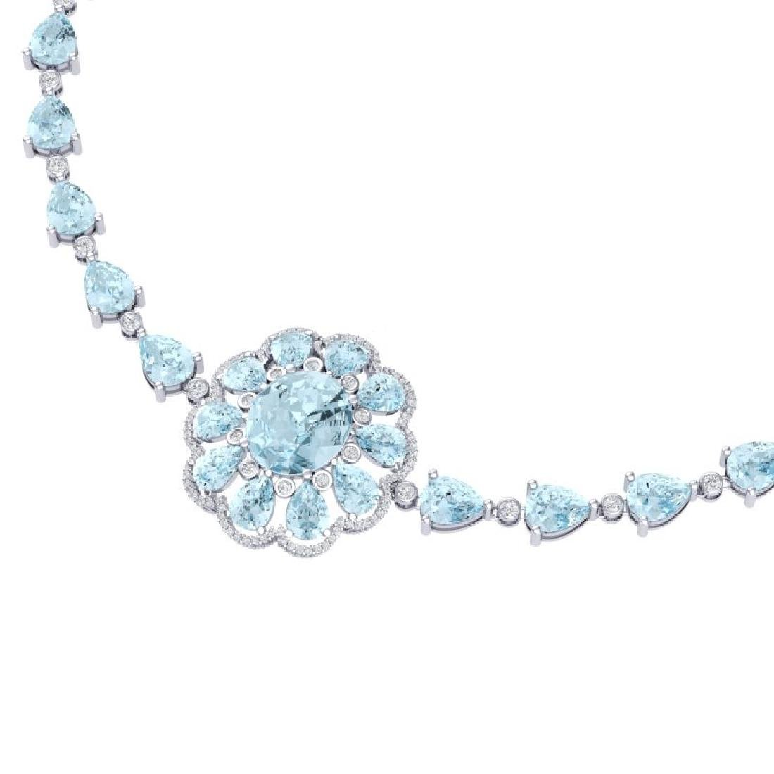 75.99 CTW Royalty Sky Topaz & VS Diamond Necklace 18K