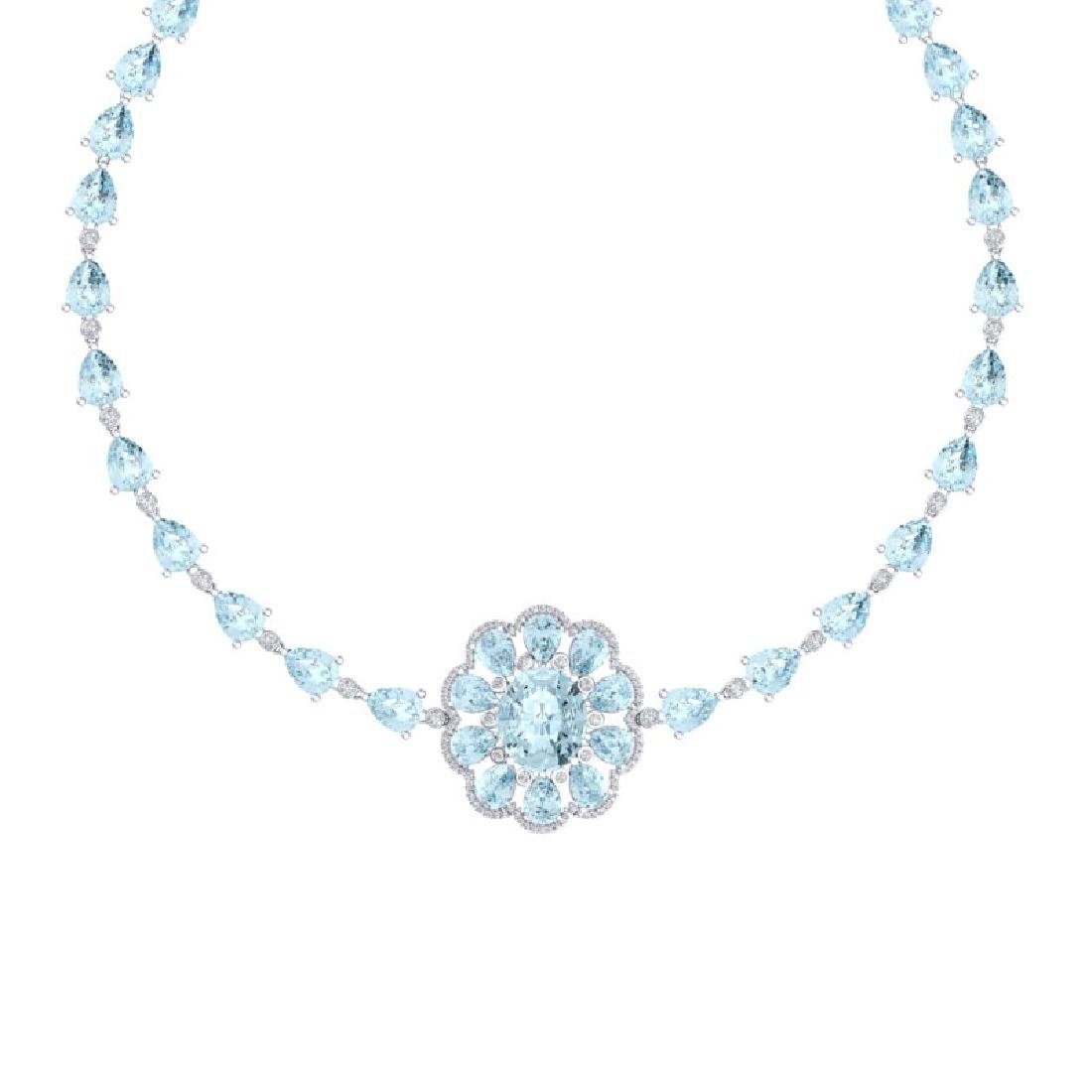75.99 CTW Royalty Sky Topaz & VS Diamond Necklace 18K - 2