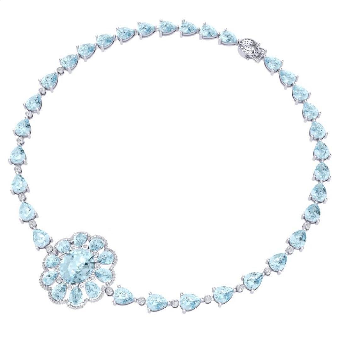 75.99 CTW Royalty Sky Topaz & VS Diamond Necklace 18K - 3