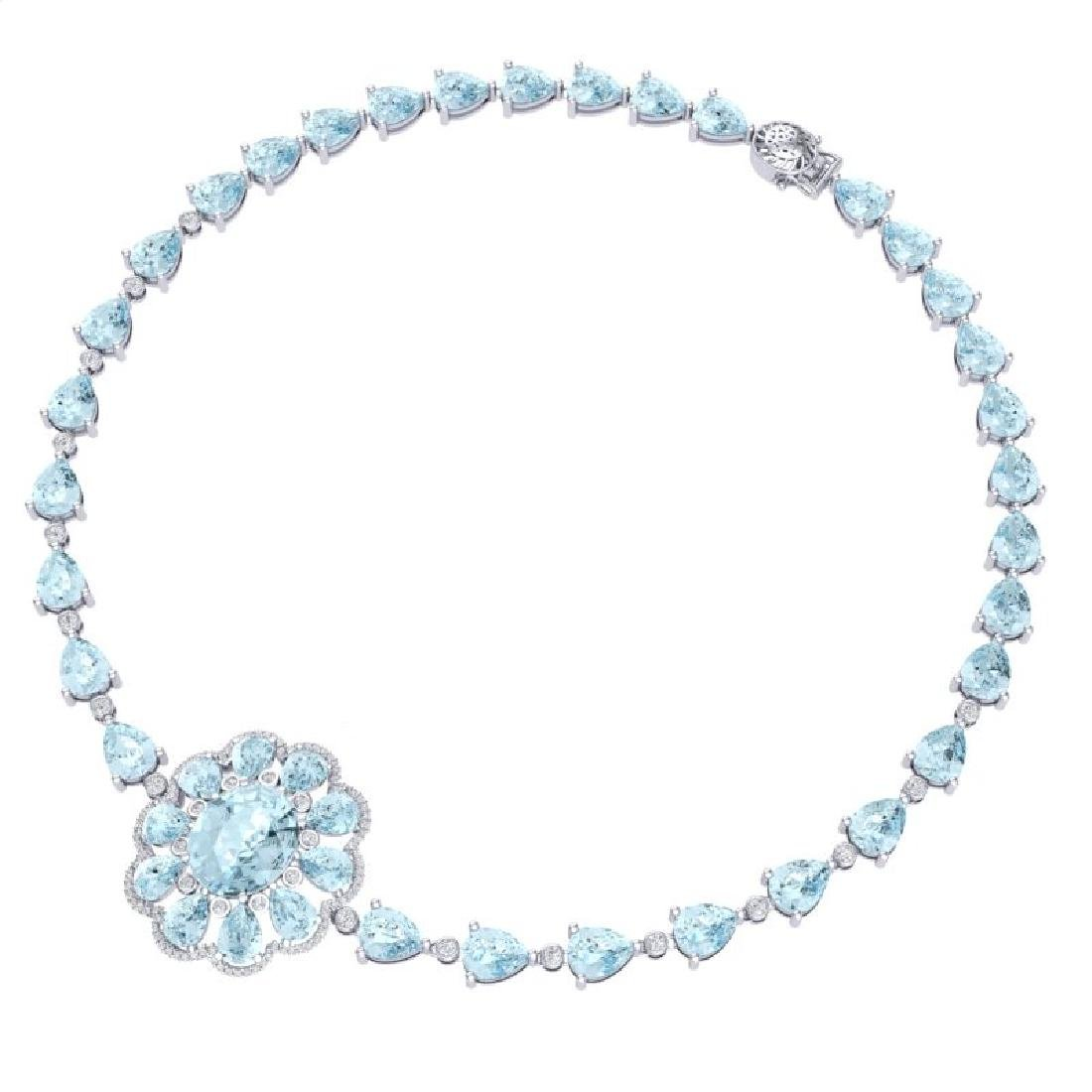 75.99 CTW Royalty Sky Topaz & VS Diamond Necklace 18K - 3