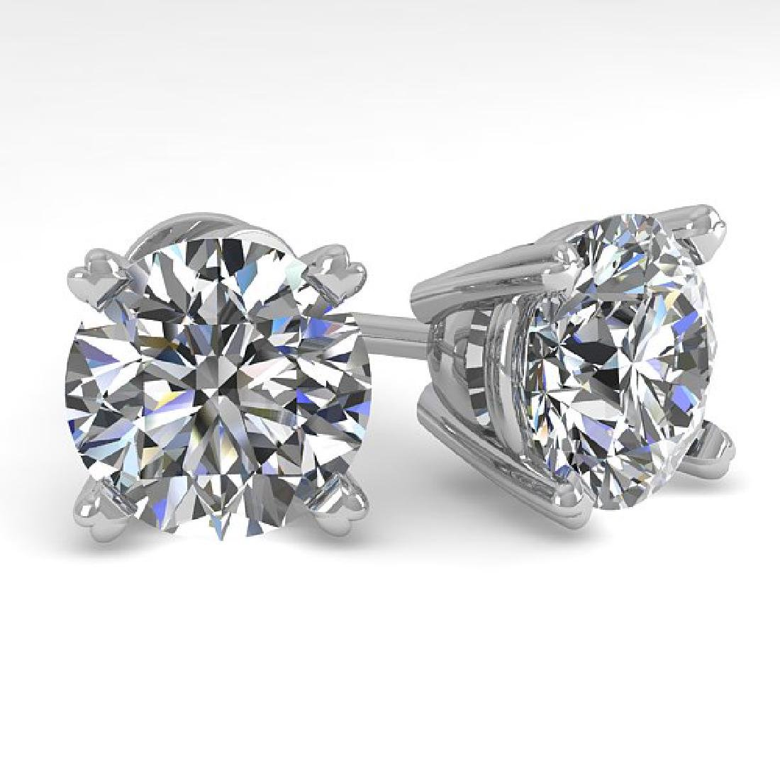 4 CTW Certified VS/SI Diamond Stud Earrings 18K White